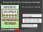scores record after competing challenge