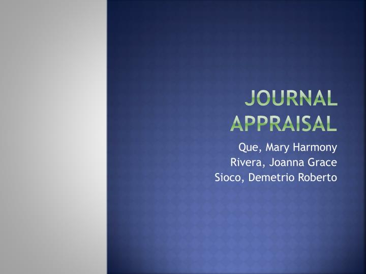 journal appraisal n.