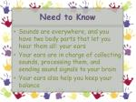 need to know