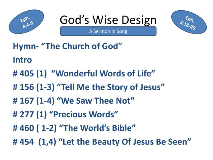 god s wise design n.