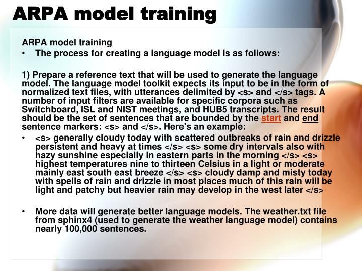 Arpa model training