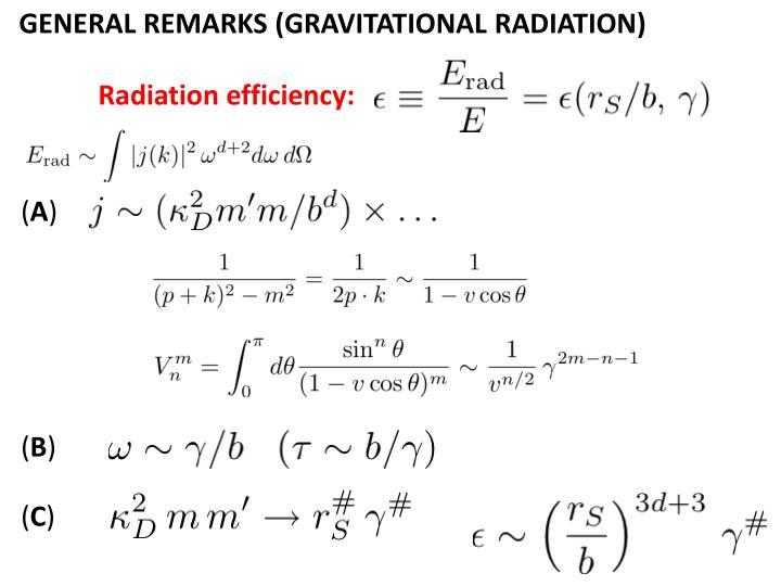 GENERAL REMARKS (GRAVITATIONAL RADIATION)