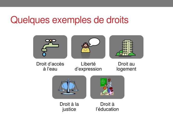 Quelques exemples de droits