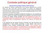 contexte politique g n ral
