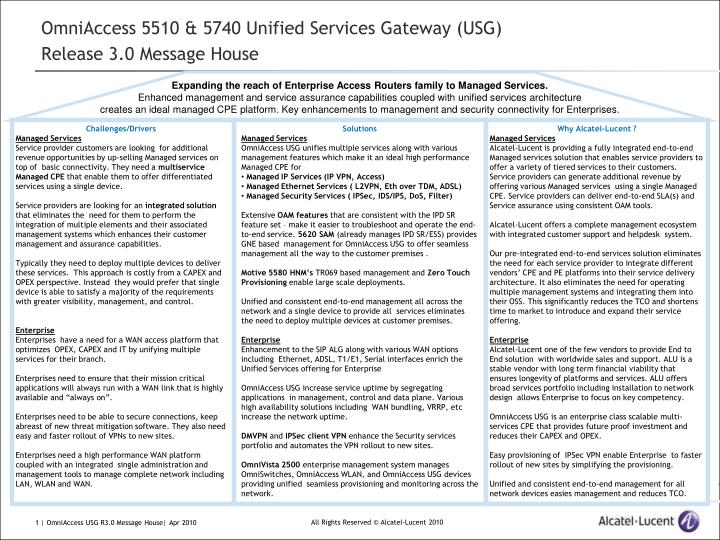omniaccess 5510 5740 unified services gateway usg release 3 0 message house n.