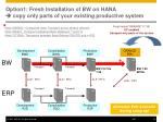 option1 fresh installation of bw on hana copy only parts of your existing productive system