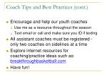 coach tips and best practices cont
