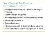 coach tips and best practices you are the key to our success