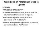 work done on parthenium weed in uganda