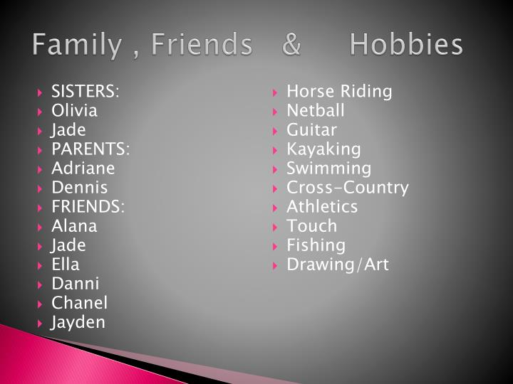 Family , Friends   &     Hobbies