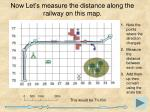now let s measure the distance along the railway on this map