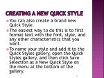 creating a new quick style