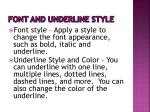 font and underline style