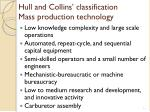 hull and collins classification mass production technology