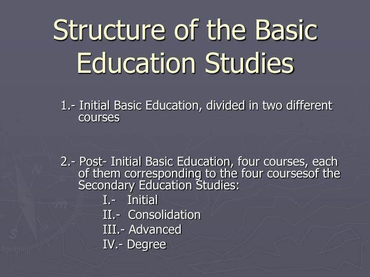 Structure of the Basic Education Studies