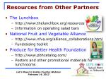 resources from other partners