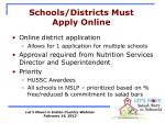 schools districts must apply online