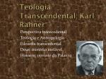 teologia transcendental karl rahner