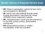 specific features of integrated service areas