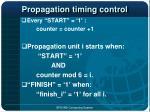 propagation timing control