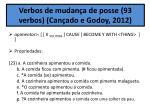 verbos de mudan a de posse 93 verbos can ado e godoy 2012
