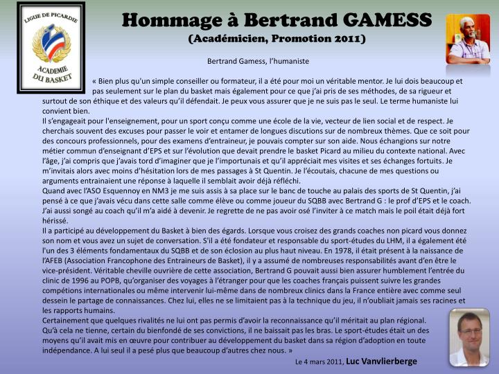 hommage bertrand gamess acad micien promotion 2011 n.