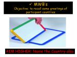 mwb s objective to recall some greetings of participant countries