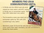 members find ushja communications useful