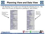 planning view and data view