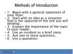 methods of introduction