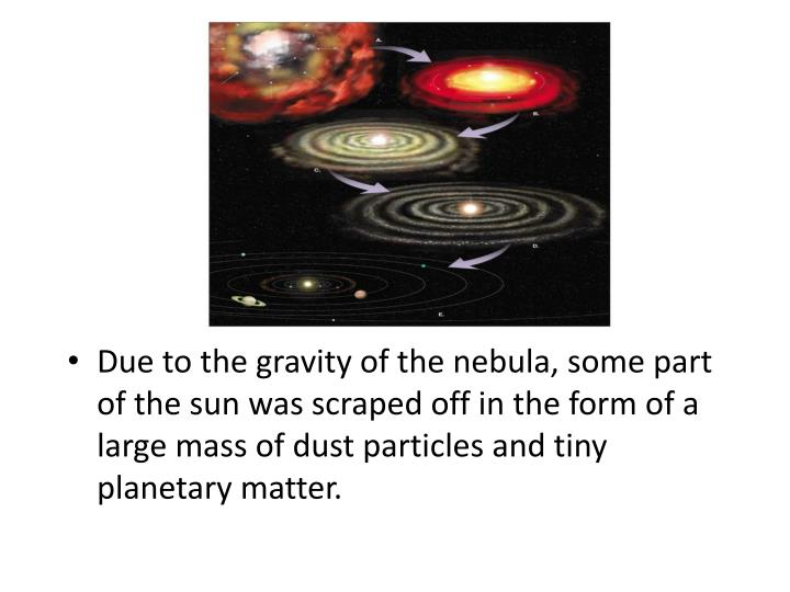 Due to the gravity of the nebula, some part of the sun was scraped off in the form of a large mass of dust particles and tiny planetary matter.