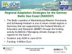 regional adaptation strategies for the german baltic sea coast radost