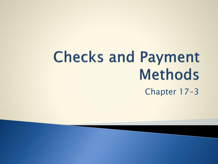 checks and payment methods n.