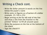writing a check cont