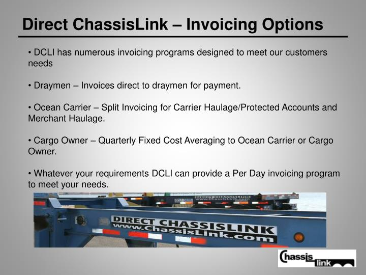 Direct ChassisLink – Invoicing Options