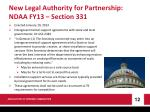 new legal authority for partnership ndaa fy13 section 331
