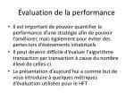 valuation de la performance