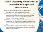 step 4 dissecting annual goals to determine strategies and interventions1