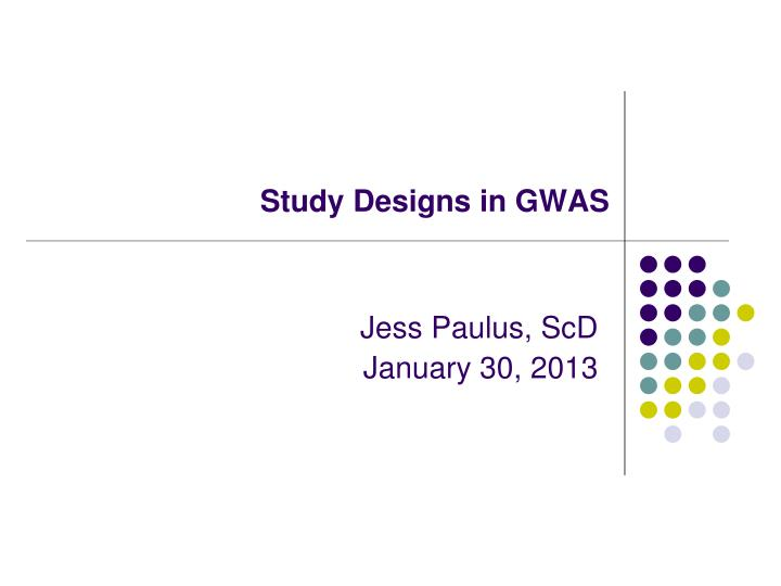 study designs in gwas n.