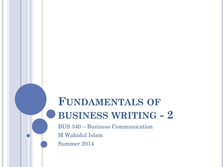 fundamentals of business writing 2 n.