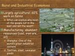 rural and industrial economies