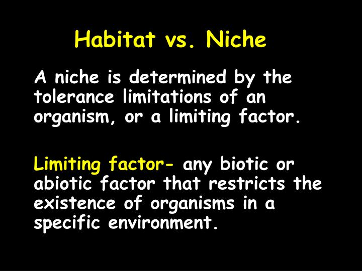 A niche is determined by the tolerance limitations of an organism, or a limiting factor.