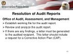 resolution of audit reports