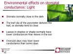 environmental effects on stomatal conductance light