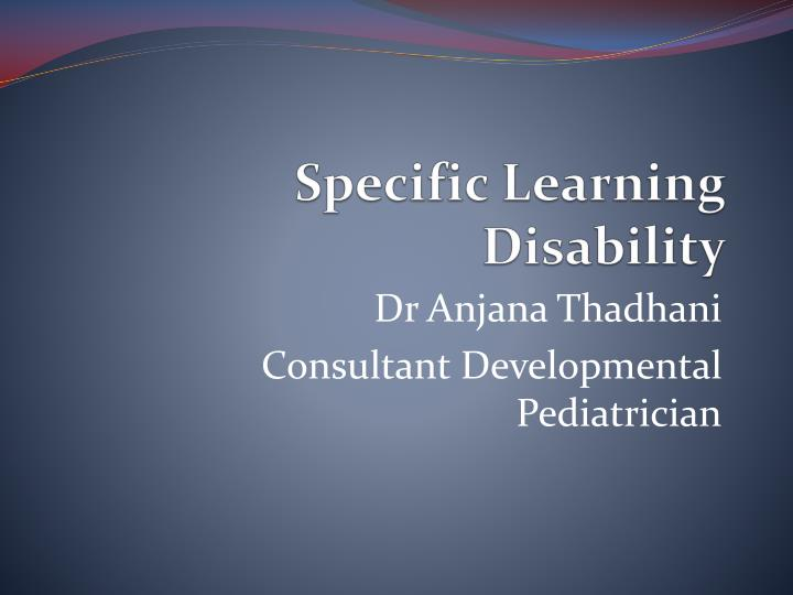 specific learning disability n.