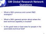 gm global research network questions