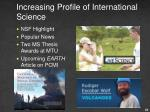 increasing profile of international science