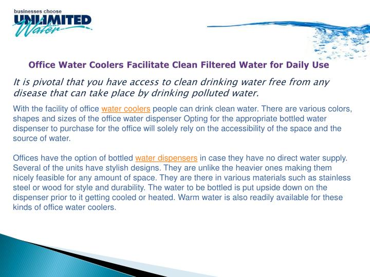 office water coolers facilitate clean filtered water for daily use n.