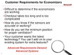 customer requirements for economizers