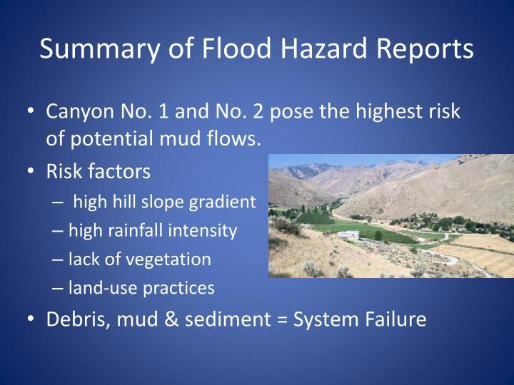 Summary of Flood Hazard Reports